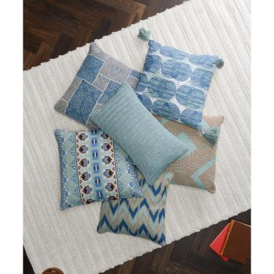 20 in. x 20 in. Olympia Artic Blue / Blue Surf Linen Tassel Decorative Pillow