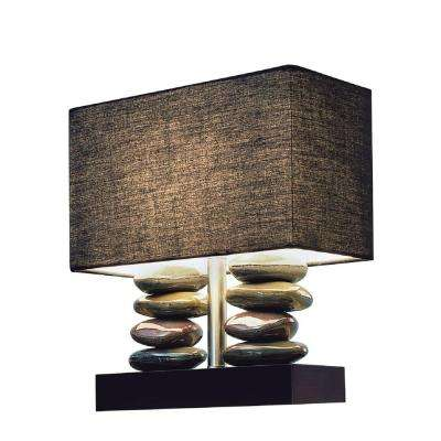 Monterey 14.5 in. Rectangular Dual Stacked Stone Ceramic Table Lamp with Black Shade