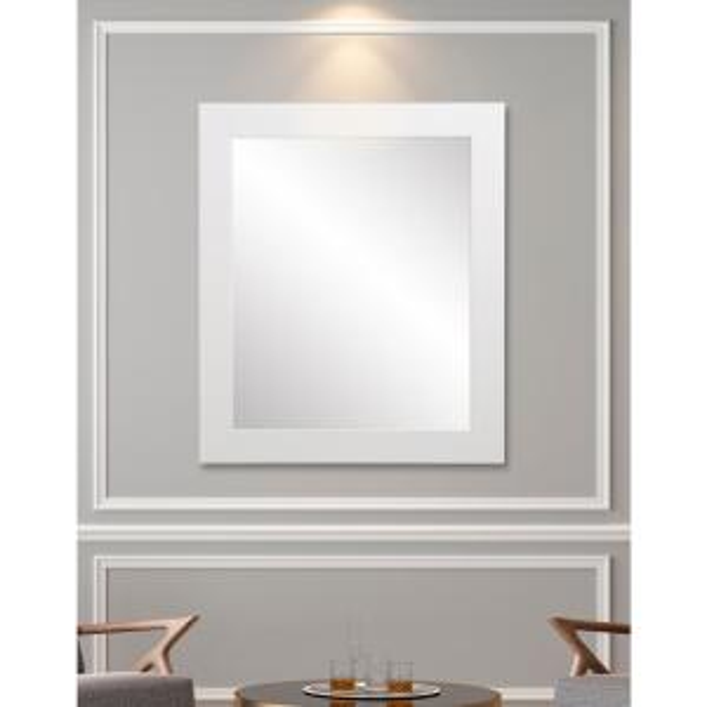 32 in. W x 38 in. H Framed Rectangular Bathroom Vanity Mirror in Matte White