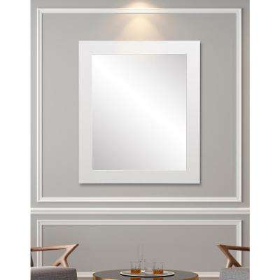 32 in. x 38 in. Framed Single Wall Mirror in Matte White