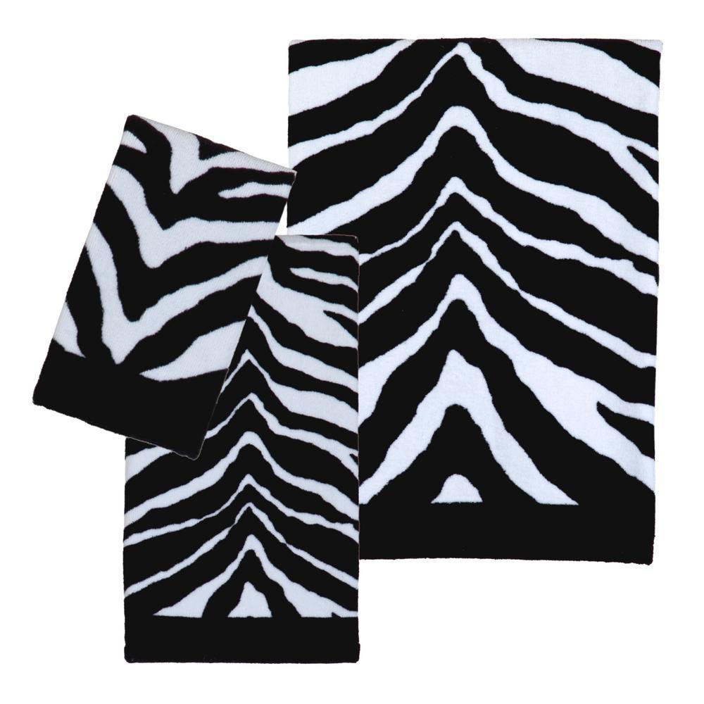 Zebra 3-Piece 100% Cotton Bath Towel Set in Black/White