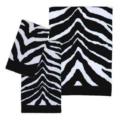 Zebra 3-Piece 100% Cotton Bath Towel Set in Black/White