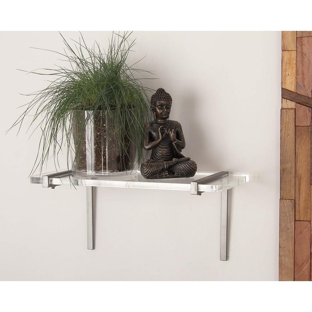 7 in. L x 18 in. W Modern Polished Silver Nickel Iron and Acrylic Shelf