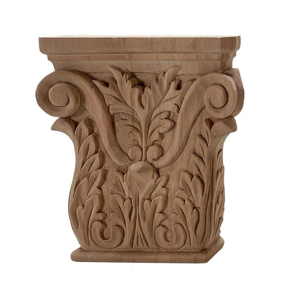 American Pro Decor 4 in. x 3-7/8 in. x 1 in. Unfinished Hand Carved North American Solid Cherry Acanthus Wood Onlay Capital Wood Applique