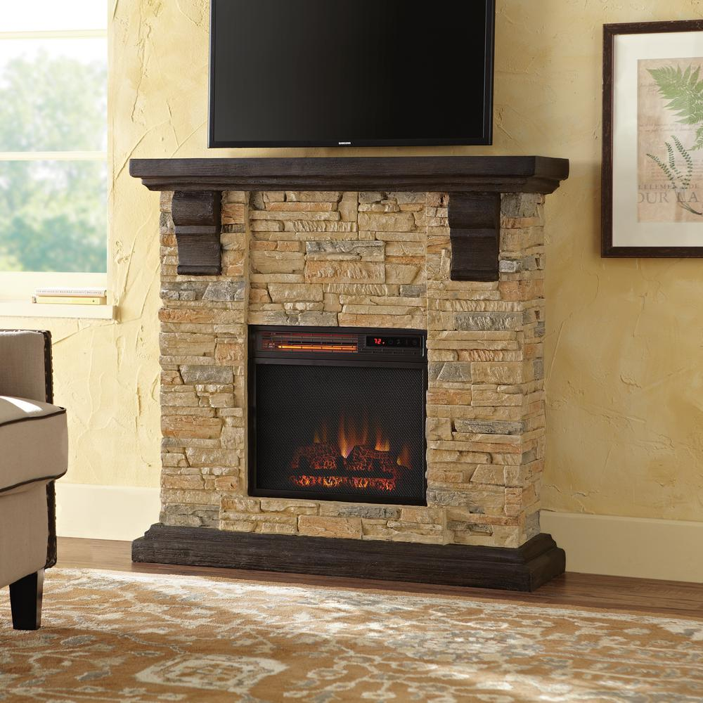 Home Decorators Collection Highland 40 In Faux Stone Mantel Electric Fireplace Tan