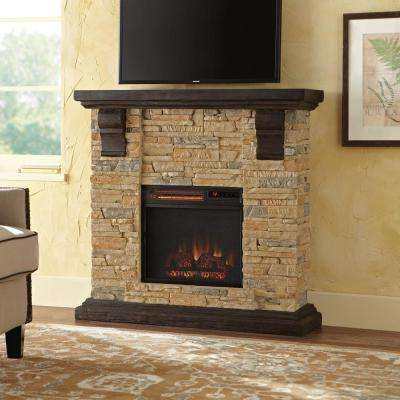 Highland 40 in. Faux Stone Mantel Electric Fireplace in Tan