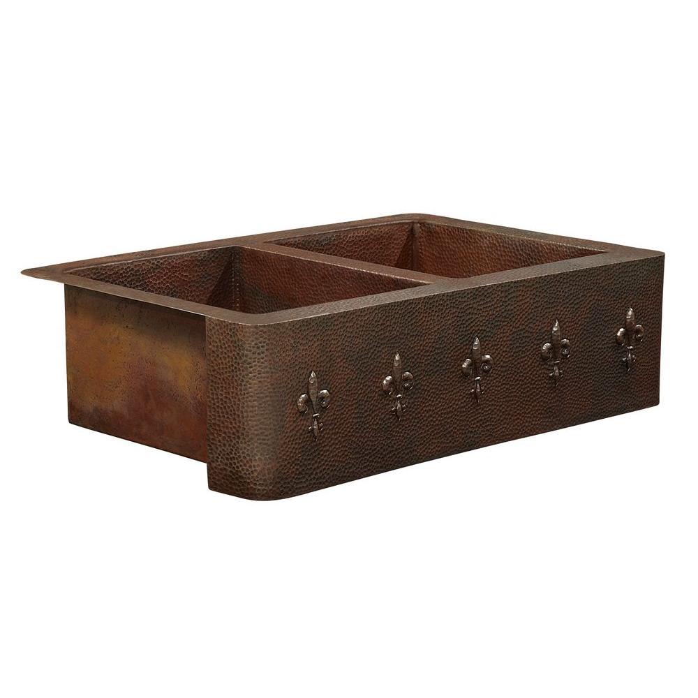 Bernini Farmhouse Apron Front Handmade Pure Solid Copper 42 in. Double Bowl 50/50 Kitchen Sink with Fleur de Lis