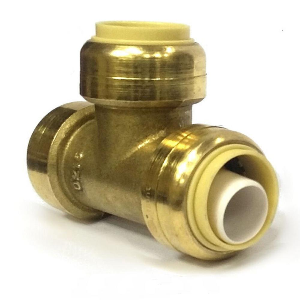 Push To Connect Fittings >> 1 In Brass Push Connect Plumbing Fitting Tee 10 Pack