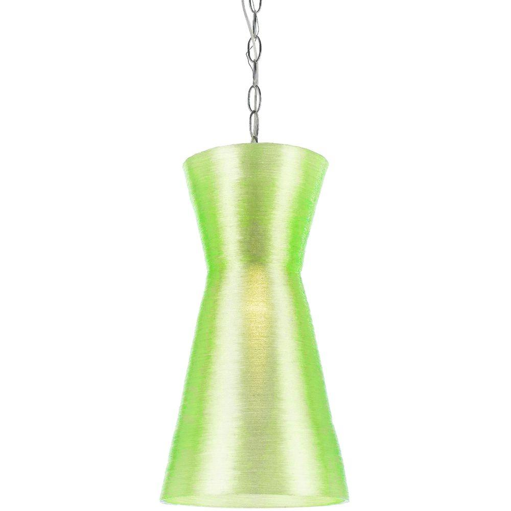 AF Lighting Aimee 1-Light Neon Green Mini Recycled Woven Plastic Pendant
