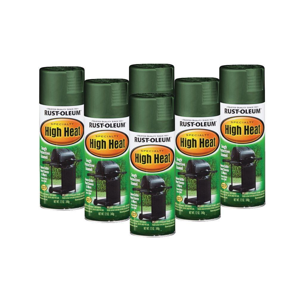 Rust-Oleum Stops Rust Specialty 12 oz. High Heat Flat Hunter Green Spray Paint (6-Pack)-DISCONTINUED