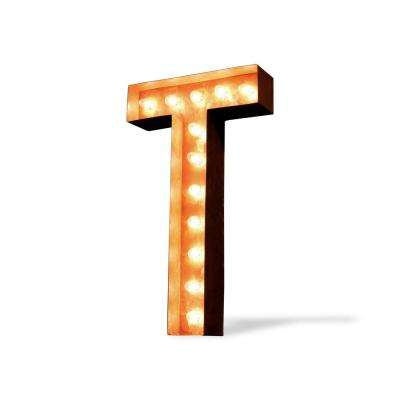 24 in. High Rusted Steel Alphabet Letter T Plug-In Marquee Lights