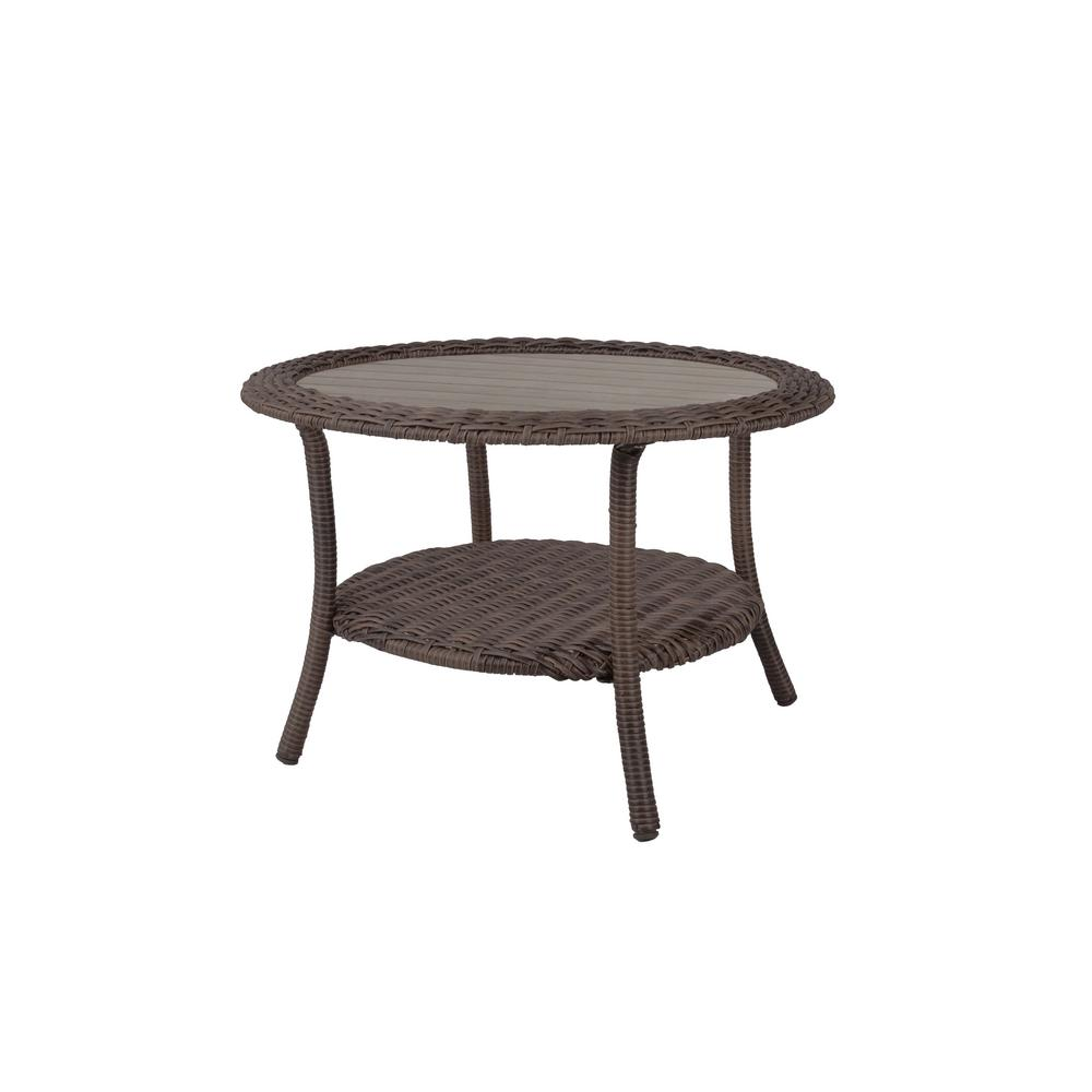 Round Wicker Patio Table Brown