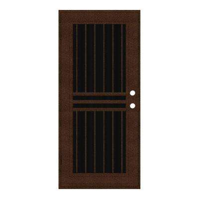 36 in. x 80 in. Plain Bar Copperclad Left-Hand Surface Mount Aluminum Security Door with Charcoal Insect Screen