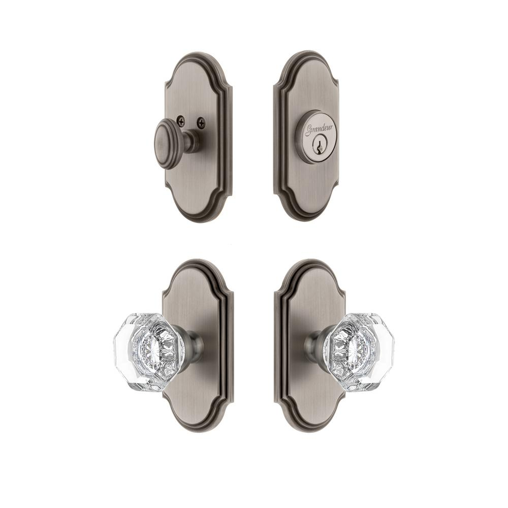 Arc Plate 2-3/4 in. Backset Antique Pewter Chambord Crystal Door Knob