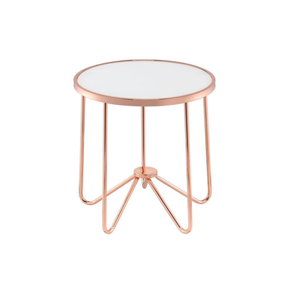Acme furniture alivia rose gold and frosted glass top end table 81837 the home depot Frosted glass furniture