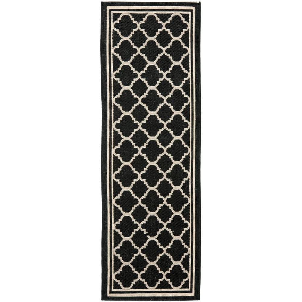 Courtyard Black/Beige 2 ft. 3 in. x 8 ft. Indoor/Outdoor Runner