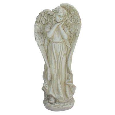 21.5 in. Angel Reflecting in Thought Outdoor Garden Statue