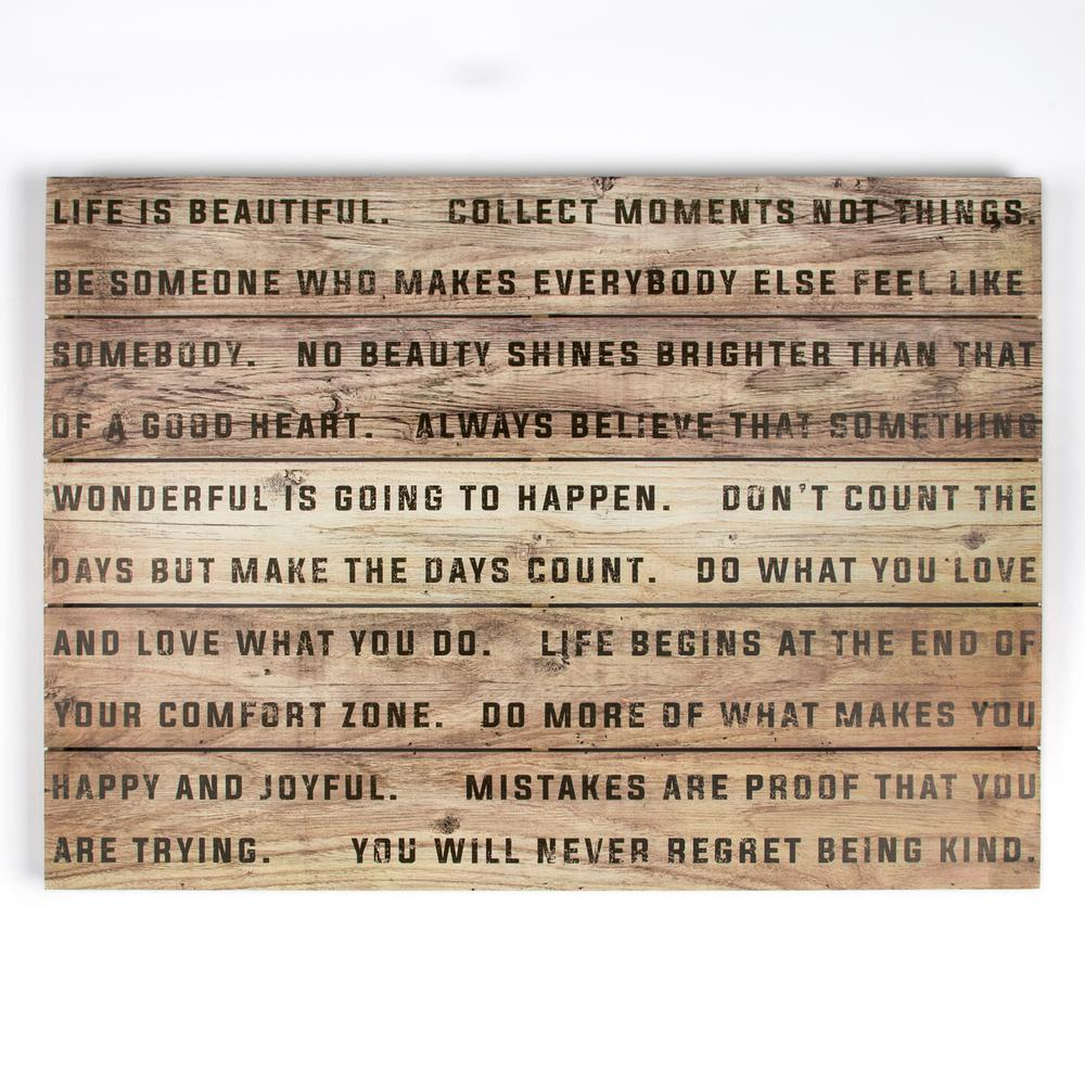 """20 in. x 28 in. """"Life Is Beautiful"""" Wooden Wall Art"""