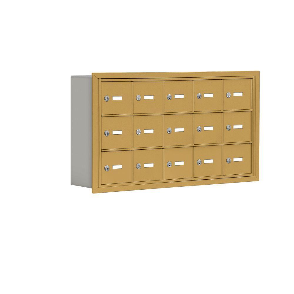 Salsbury Industries 19000 Series 37 in. W x 20 in. H x 5.75 in. D 15 A Doors R-Mount Keyed Locks Cell Phone Locker in Gold