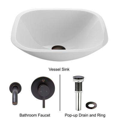 Square Shaped Stone Glass Vessel Sink in White Phoenix with Wall-Mount Faucet Set in Antique Rubbed Bronze