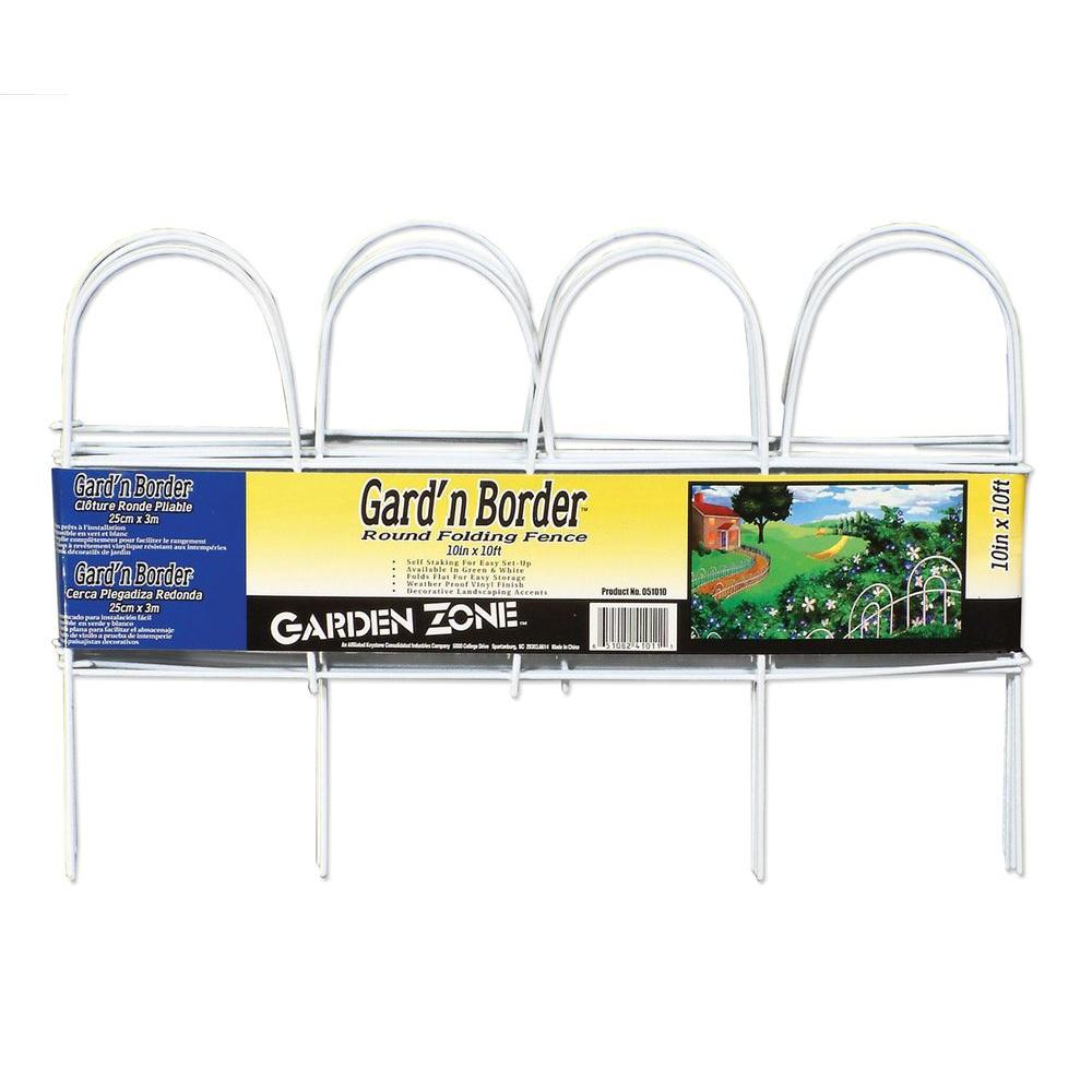 null 10 in. Steel White Vinyl Coated Round Folding Garden Fence-DISCONTINUED