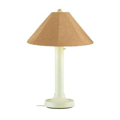 Catalina 34 in. Bisque Outdoor Table Lamp with Straw Linen Shade