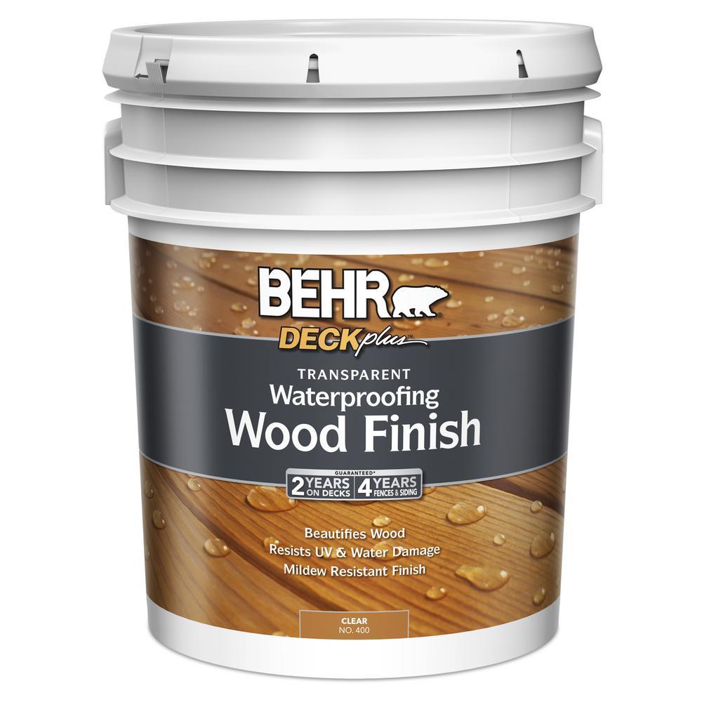 BEHR 5 gal. DECKplus Natural Clear Transparent Waterproofing Wood Finish