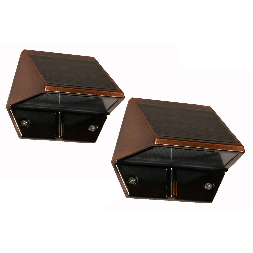 Solar Outdoor Patio Deck Lights: Classy Caps Solar 2-LED Outdoor Copper Integrated LED Deck