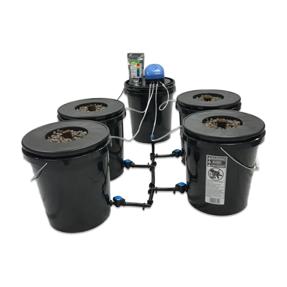 Viagrow Hydroponic Black Bucket Deep Water System (4-Pack)