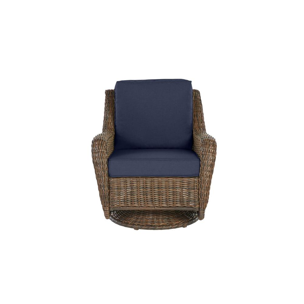 Hampton Bay Cambridge Brown Wicker Outdoor Patio Swivel Rocking Chair with Standard Midnight Navy Blue Cushions