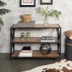 26 in. Barnwood/Black Metal 3-shelf Etagere Bookcase with Open Back