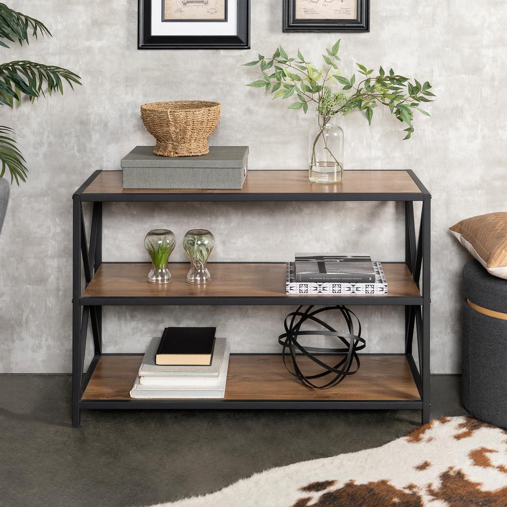 26 in. Barnwood/Black Metal 3-shelf Etagere Bookcase with Open Back