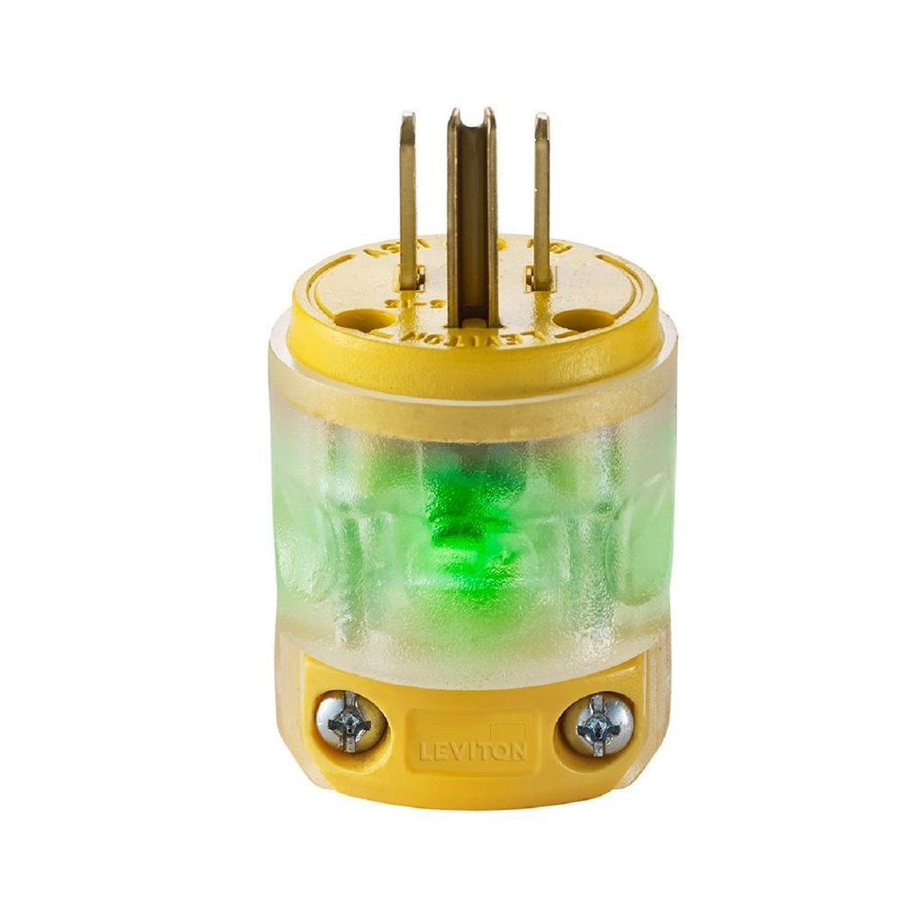 Leviton 15 Amp 125-Volt Round Dead Front Plug, Clear-R50-515PV-LIT ...