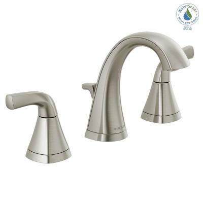 Parkwood 8 in. Widespread 2-Handle Bathroom Faucet with Pop-Up Assembly in Brushed Nickel
