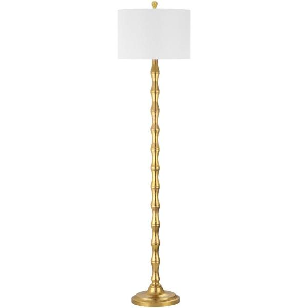 Aurelia 63.5 in. Antique Gold Curved Floor Lamp with Off-White Shade