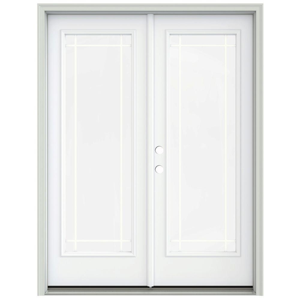 Jeld wen 60 in x 80 in white painted steel right hand for French inswing patio door screen