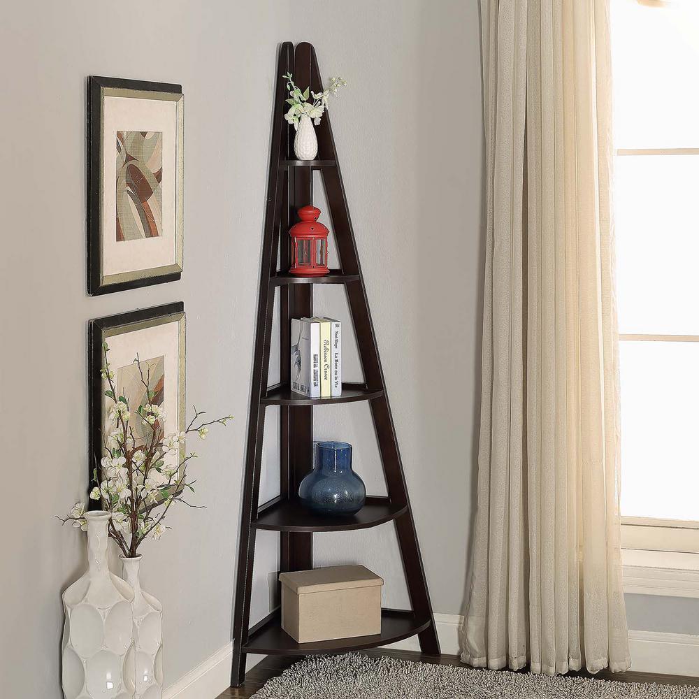 Linden 18 in. W x 72 in. H Espresso Corner Ladder Shelf