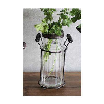 Dahlia 8.75 in. Glass and Metal Decorative Vase