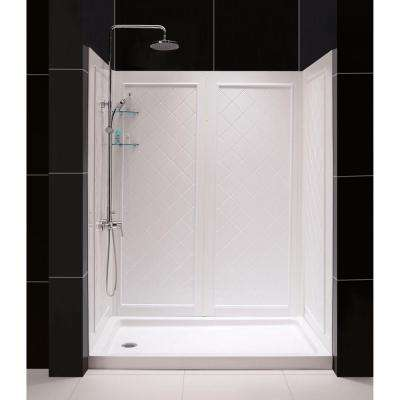 SlimLine 34 in. x 60 in. Single Threshold Shower Base in White Left Hand Drain Base with Back Walls