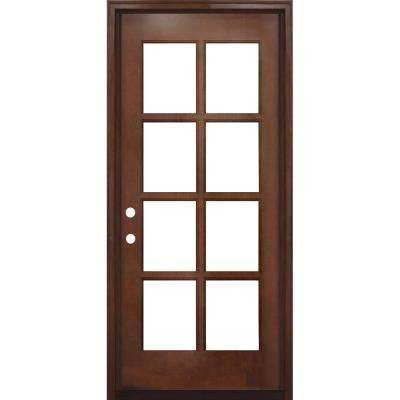 32 in. x 80 in. Craftsman Richmond 8-Lite Right-Hand Inswing Chestnut Mahogany Wood Prehung Front Door