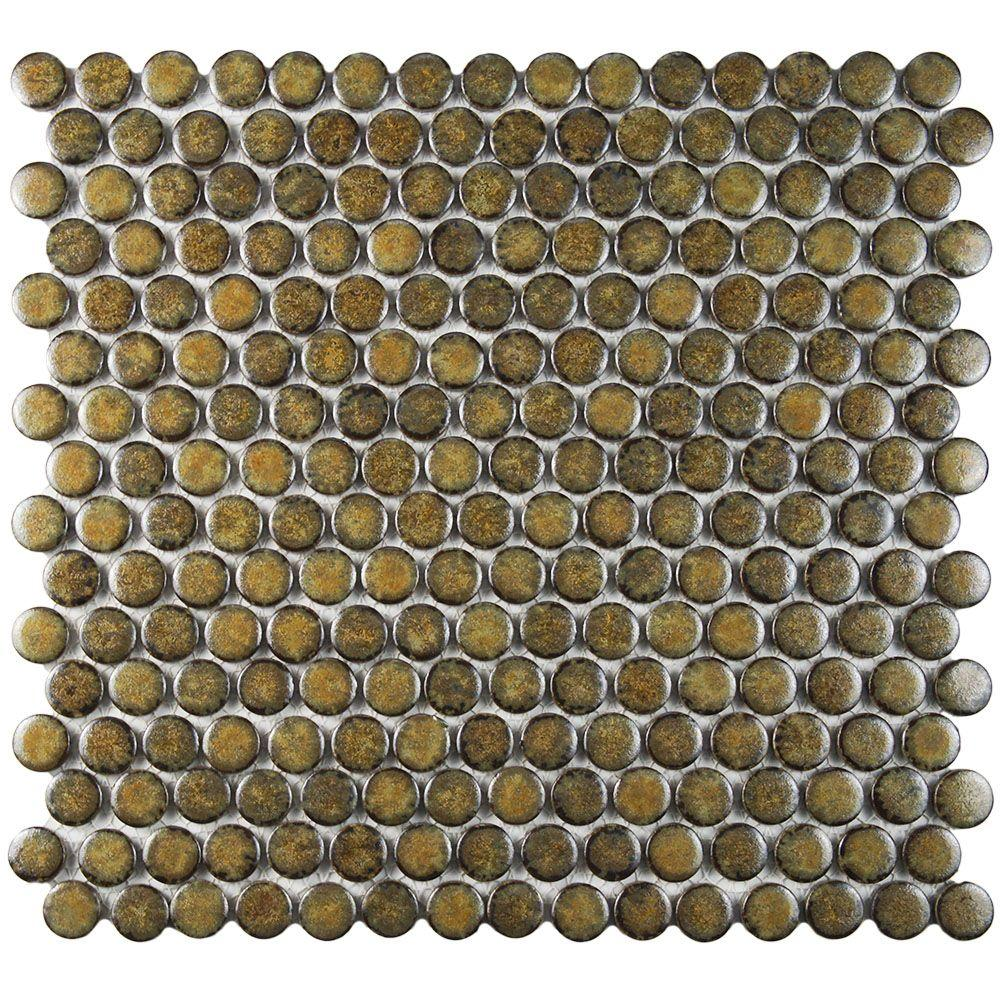Merola Tile Hudson Penny Round Brownstone 12 In X 5 8 Mm Porcelain Mosaic Fkompr72 The Home Depot