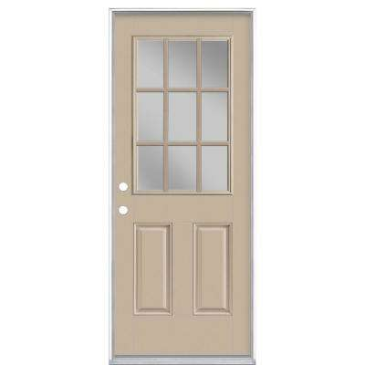 32 in. x 80 in. 9 Lite Canyon View Right-Hand Inswing Painted Smooth Fiberglass Prehung Front Exterior Door, Vinyl Frame