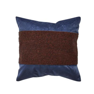 Asher Navy Solid Polyester 18 in. x 18 in. Throw Pillow