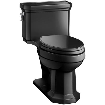 Kathryn Comfort Height 1-Piece 1.28 GPF Single Flush Elongated Toilet in Black Black, Seat Included
