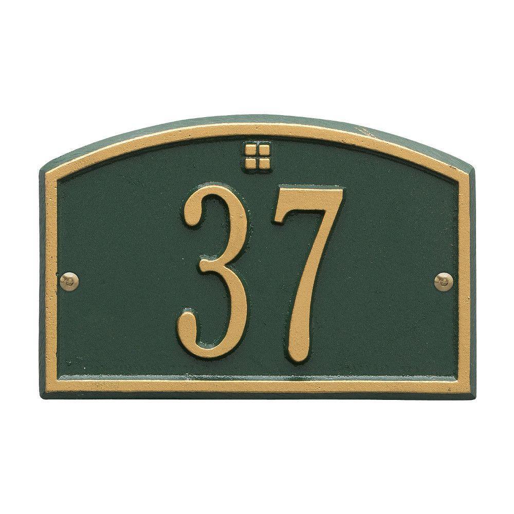 Cape Charles Rectangular Green/Gold Petite Wall 1-Line Address Plaque