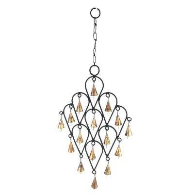 22 in. Inverted Drop Wrought Iron Wind Chime with Metal Bells