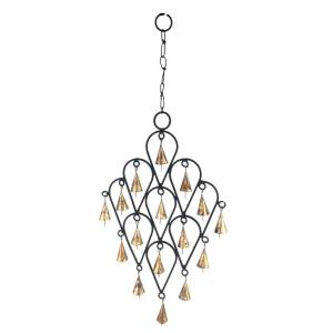 22 inch Inverted Drop Wrought Iron Wind Chime with Metal Bells by