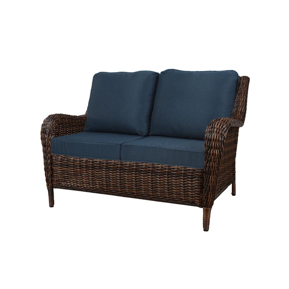 Peachy Hampton Bay Cambridge Brown Wicker Outdoor Patio Loveseat With Standard Midnight Navy Blue Cushions Creativecarmelina Interior Chair Design Creativecarmelinacom