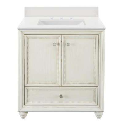 Dellwood 31 in. W x 22 in D Vanity in Antique White with Engineered Marble Vanity Top in Winter White with White Sink