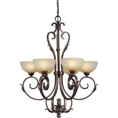 6-Light Black Cherry Bronze Chandelier with Umber Mist Glass